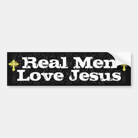 Real Men LoveJesus Christian Bumper Sticker