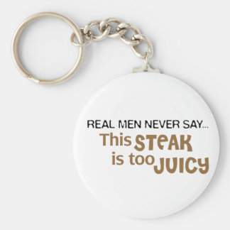 Real Men Never Say This Steak Is Too Juicy Basic Round Button Key Ring