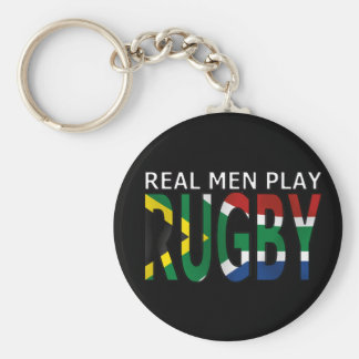 Real Men play Rugby South Africa Basic Round Button Key Ring