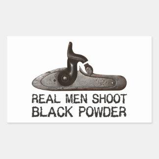 Real men shoot Black Powder, target shooting rifle Rectangular Sticker