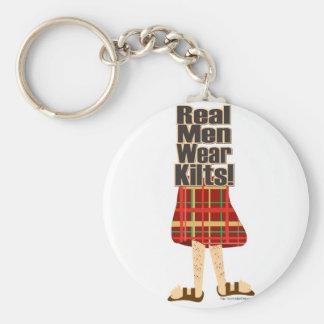 Real Men Wear Kilts Basic Round Button Key Ring