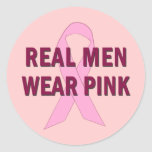 Real Men Wear Pink for Breast Cancer Awareness Round Stickers