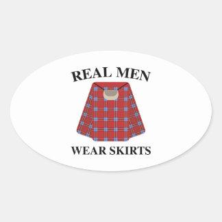 Real Men Wear Skirts Oval Sticker