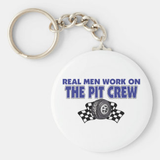 Real Men Work On The Pit Crew Basic Round Button Key Ring