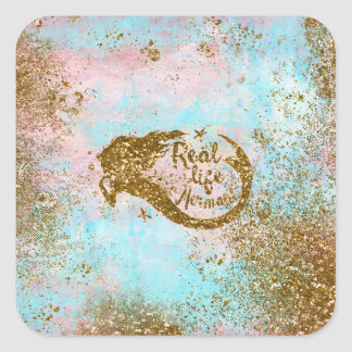 Real Mermaid Life- Glitter Gold Mermaid Square Sticker