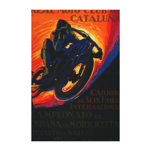 Real Moto Club Vintage PosterEurope Gallery Wrapped Canvas