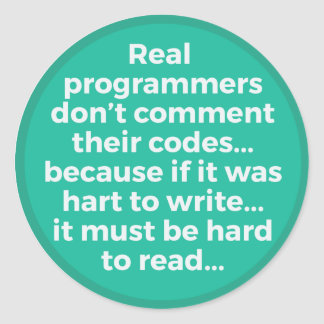 Real Programmers Round Sticker