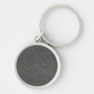 Real RAW Carbon Fiber Textured Silver-Colored Round Key Ring