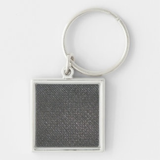 Real RAW Carbon Fiber Textured Silver-Colored Square Key Ring
