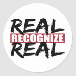 real recognise real round stickers