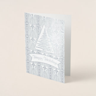 Real Silver Great Gatsby Art Deco Happy Holidays Foil Card