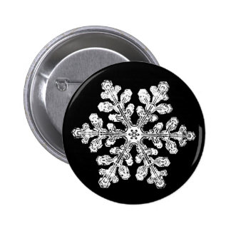 Real snowflake 6 cm round badge