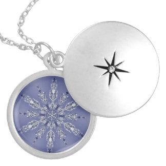 Real Snowflake Fractal Blue 2 Locket Necklace