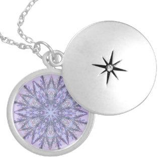 Real Snowflake Fractal Lavender Locket Necklace