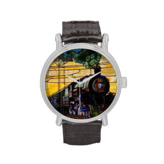 Real steam train engine on vitage watch