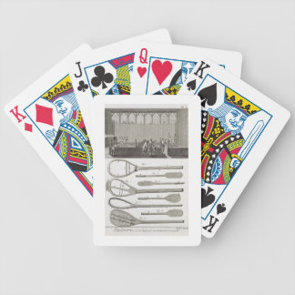 Real tennis and the construction of racquets, from bicycle playing cards