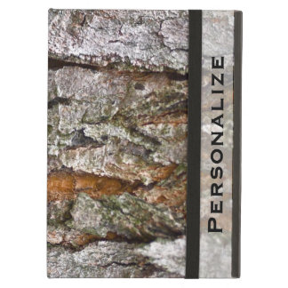 Real Tree Bark Texture with Personalized Name iPad Air Cover