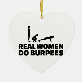Real women do burpees ceramic heart decoration