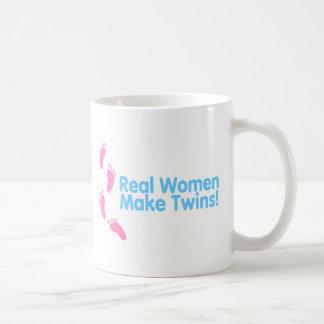 Real Women Make Twins (Blue Pink) Basic White Mug