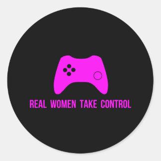 Real Women Take Control Classic Round Sticker