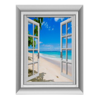 Realistic 3D Beach Scene Fake Window View Poster