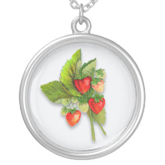 Realistic Botanical Strawberries Silver Plated Necklace