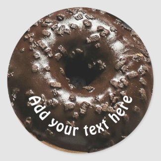 Realistic Chocolate Frosted Donut Classic Round Sticker
