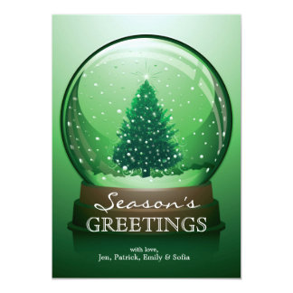 Realistic Christmas Snow Globe 13 Cm X 18 Cm Invitation Card