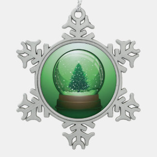 Realistic Christmas Snow Globe Snowflake Pewter Christmas Ornament