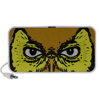 realistic creepy owl eyes face portable speakers
