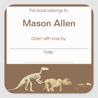 Realistic Dinosaur Fossil Book Plate Sticker