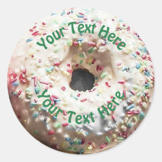 Realistic Donut with Rainbow Sprinkles Round Sticker