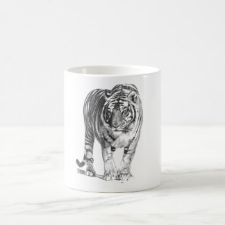 Realistic Hand Drawn Bengal Tiger with Shading Coffee Mug