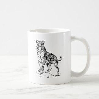 Realistic Hand Drawn Tiger Facing Forward Coffee Mug