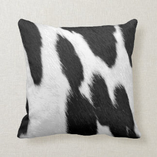 Realistic Holstein cow Hide Look Throw Pillow