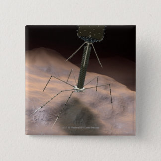Realistic Illustration of bacteriophage 15 Cm Square Badge