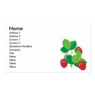 realistic juicy strawberries business cards