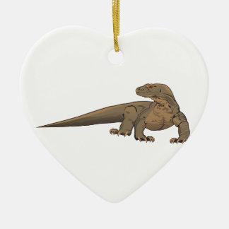Realistic Komodo Dragon/Monitor Lizard Ceramic Heart Decoration