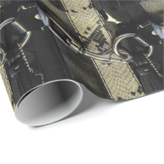 Realistic Leather Snakeskin Look with Clasp Wrapping Paper