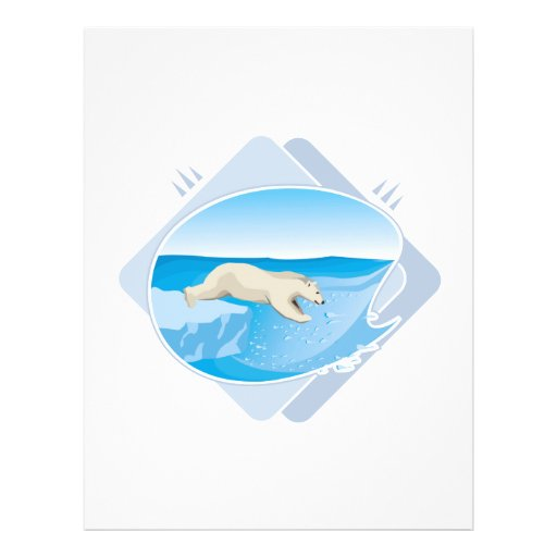 realistic polar bear fishing flyer