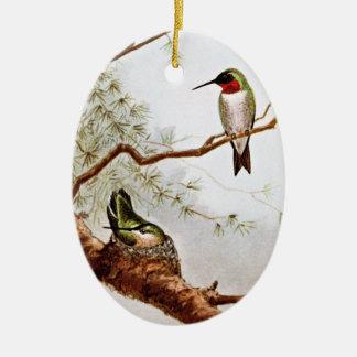 Realistic Ruby-Throated Hummingbird Art Christmas Ornament