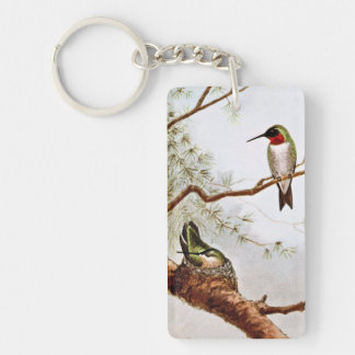 Realistic Ruby-Throated Hummingbird Art Double-Sided Rectangular Acrylic Key Ring