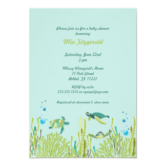 Realistic Sea Turtle Baby Shower or Birthday Party Card