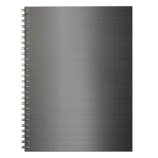 Realistic silver metallic texture spiral notebook