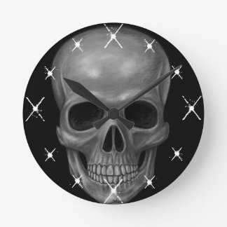 Realistic Skull Round Clock