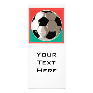 realistic soccer ball red and green background full colour rack card