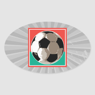 realistic soccer ball red and green background oval sticker