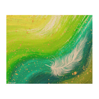Realistic white feather with green swirl painting wood wall decor