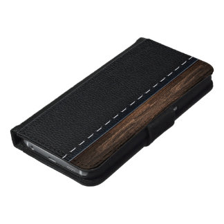 Realistic Wood and Stitched Leather Texture Samsung Galaxy S6 Wallet Case