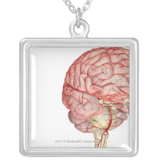 Realitic rendering of the human brain silver plated necklace
